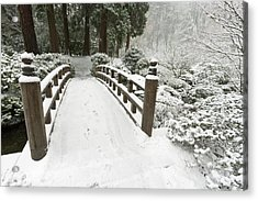 Snow-covered Moon Bridge, Portland Acrylic Print by William Sutton