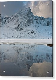 Snow Covered Mountain Reflected In Lake Acrylic Print