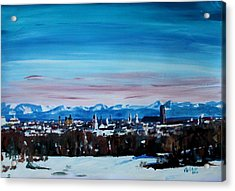 Snow Covered Munich Winter Panorama With Alps Acrylic Print by M Bleichner