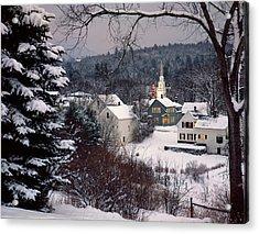 Snow Covered New England Winter Evening Acrylic Print
