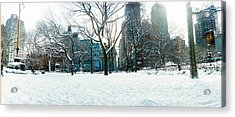 Snow Covered Park, Union Square Acrylic Print