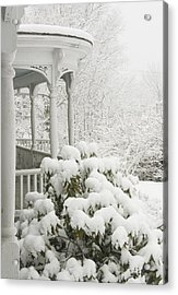 Snow Covered Porch Acrylic Print by Keith Webber Jr