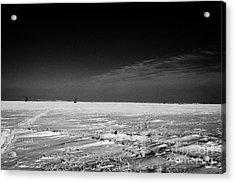 snow covered prairie agricultural farming land with pumpjacks oilfield winter Forget Saskatchewan Ca Acrylic Print by Joe Fox