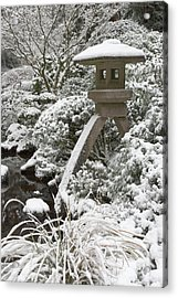 Snow-covered Stone Lantern, Portland Acrylic Print