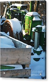 Snow Covered Tractor Acrylic Print by PainterArtist FIN