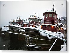 Snow Covered Tugboats Acrylic Print