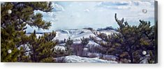 Acrylic Print featuring the photograph Snow Covered Dunes by Constantine Gregory