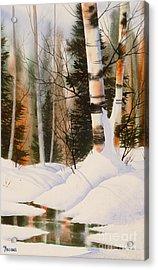 Snow Crevice Acrylic Print by Teresa Ascone