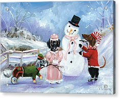 Snow Day For The Dachshund Dogs By Violano Acrylic Print by Stella Violano