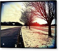 Snow Day In Texas Acrylic Print by Jose Benavides