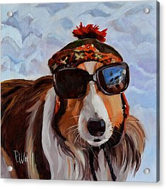 Acrylic Print featuring the painting Snow Dog by Pattie Wall