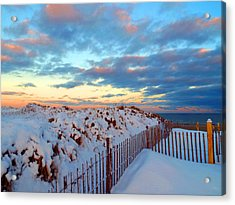 Snow Dunes At Sunrise Acrylic Print by Dianne Cowen