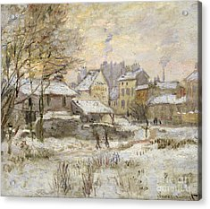 Snow Effect With Setting Sun Acrylic Print by Claude Monet