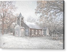 Snow Fall Old Church Acrylic Print by Cindy Rubin