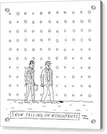 Snow Falling On Accountants -- Two Men Walk Acrylic Print