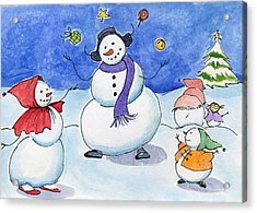 Snow Folks - Family Time. Acrylic Print by Katherine Miller