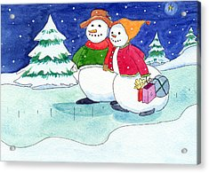 Snow Folks - Shoppers Acrylic Print by Katherine Miller