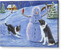 Snow Friends Acrylic Print by Fran Brooks