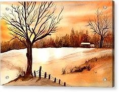 Snow Glow Acrylic Print by Neela Pushparaj