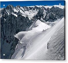 Snow Hikers Acrylic Print
