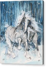 Snow Horses Acrylic Print by Mary Armstrong