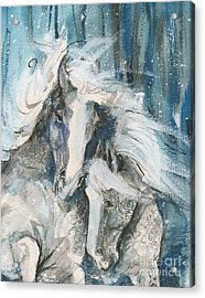 Snow Horses2 Acrylic Print by Mary Armstrong