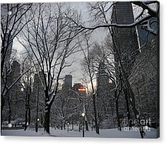 Snow In The City Acrylic Print by Winifred Butler