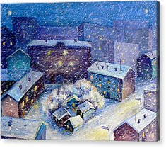 Snow In The Town Acrylic Print