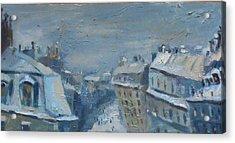 Snow Is Paris Acrylic Print by NatikArt Creations