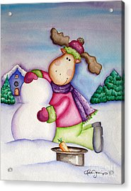 Snow Moose Acrylic Print by Dani Abbott