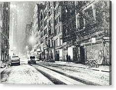 Snow - New York City - Winter Night Acrylic Print by Vivienne Gucwa