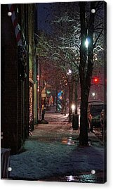 Snow On G Street 2 - Old Town Grants Pass Acrylic Print by Mick Anderson