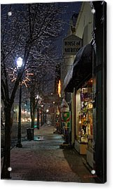 Snow On G Street 3 - Old Town Grants Pass Acrylic Print by Mick Anderson