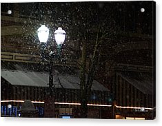 Snow On G Street In Grants Pass - Christmas Acrylic Print by Mick Anderson