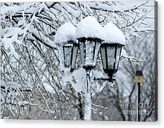 Snow On Lamps Acrylic Print