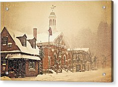 Snow On Main Street Chagrin Falls Oh Acrylic Print by Dorothy Walker