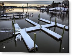 Snow On The Docks Acrylic Print by Eric Gendron