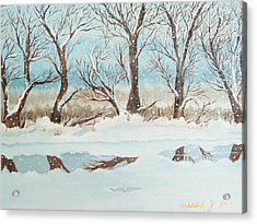 Snow On The Ema River 2 Acrylic Print