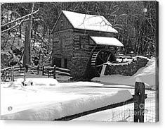 Snow On The Fence In Black And White Acrylic Print by Paul Ward