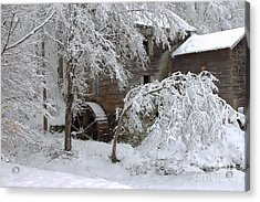 Snow On The Mill Acrylic Print by Benanne Stiens