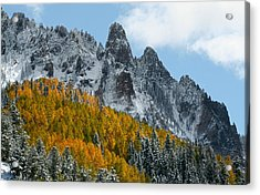 Snow On The San Juan Mountains In Autumn Acrylic Print by Jetson Nguyen