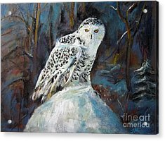 Acrylic Print featuring the painting Snow Owl by Jieming Wang