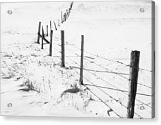 Snow Packed Fence Line Acrylic Print