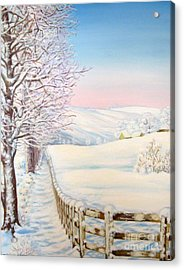 Acrylic Print featuring the painting Snow Path by Inese Poga