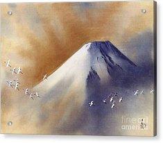 Snow Peak With Cranes Acrylic Print