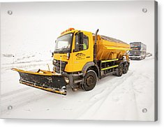 Snow Plough On The Road Acrylic Print by Ashley Cooper