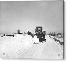 Snow Plow Clearing Roads Acrylic Print by Underwood Archives