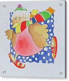 Snow Robin Acrylic Print by Tony Todd