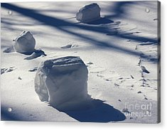 Snow Roller Trio In Shadows Acrylic Print