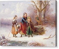 Snow Scene, 19th Century Acrylic Print